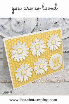 Make these cheerful cards using punches to make and send to people who could use some cheering up. The paper punch flowers come together in no time and all you need to do is pop them and your greeting on some bright patterned paper. Easy peasy! Cheer Someone Up, Kids Stamps, Paper Punch, Cool Cards, Free Paper, Easy Projects, Paper Flowers, Birthday Cards, Card Making
