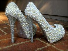 Pearl, Rhinestone, Glitter Wedding Heels (Custom Made). $175.00, via Etsy.
