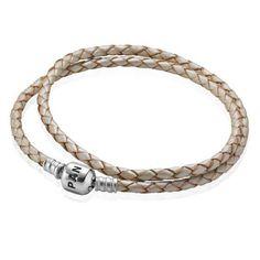 $27 PANDORA Champagne Double Braided Leather Bracelet