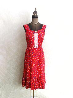 1970s Red Sun Dress by ArtDecoDame on Etsy