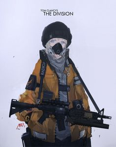 1girl assault_rifle beanie blue_eyes grenade_launcher grey_hair gun hands_in_pockets hat jacket laser_sight m203 m4_carbine mivit original respirator rifle science_fiction scope short_hair simple_background sling solo tom_clancy's_the_division underbarrel_grenade_launcher weapon