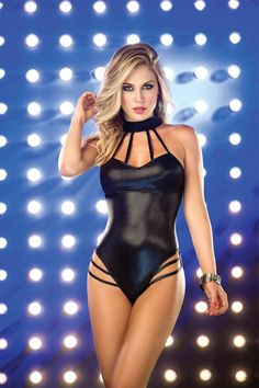 Sexy, seductive, and revealing come to mind when you flaunt your sexy body in this bodysuit. This one of a kind style goes great with a sexy mini skirt and pumps for those clubbing nights with your friends. Featuring a mock neck, strappy detail, sweetheart neck line, halter tie, thong bottoms, metallic detail, and fitted. 93% Polyester 7% Elastan.