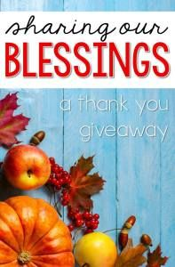 Sharing Our Blessings- a TpT Gift Card giveaway!