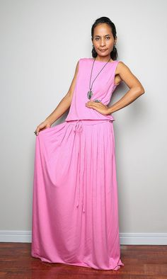 Pink Maxi Dress   Soft Pink Sleeveless dress  Autumn by Nuichan, $59.00