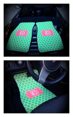 Monogram Gift Idea, Monogrammed / Personalized Car Mats on Etsy $75.00 www.sassysoutherngals.etsy.com  Just not these colors! I would like Black and beige:)