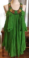 Anthropologie ALI RO Dress ~ Emerald Green ~ Sz 2 ~ Silk ~ Beaded, Tiered