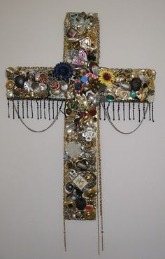 Cross bejeweled 27 inch massive hand cut thick wooden cross.