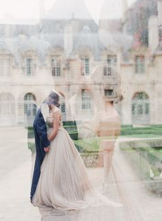 Beautiful Parisian love story. Parisian romance. Bride wearing a very pale pink/ivory tulle dress.