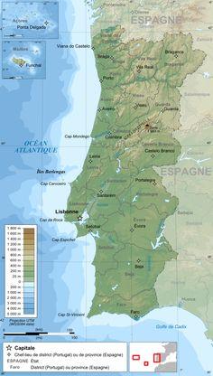 Carte topographique du Portugal.
