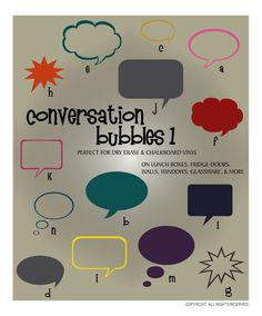 DIGITAL DOWNLOAD ... vinyl conversation bubble vectors. Great for dry erase vinyl and chalkboard vinyl message boards @ My Vinyl Designer (http://www.myvinyldesigner.com/Products/conversation-bubbles-1.aspx#)