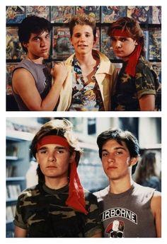 The Lost Boys - (Top) Corey Feldman, Corey Haim, Jamieson Newlander. (Bottom) The Frog Brothers. I had such a crush on the Corey boys. Lost Boys Movie, The Lost Boys 1987, Love Movie, Movie Tv, 80s Movies, Great Movies, Horror Movies, 1980s Films, King Kong