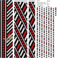 вязание крючком, схема для жгута, бисер, жгут, черный, красный, белый