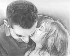 Hand Drawn Pencil Sketch from Photo of Dad with Daughter