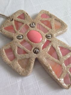 Bread Of Life Coral and Pink Stained Glass Mosaic by BeingReMade