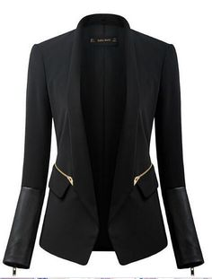 ZA brand new autumn winter 2014 women black stand collar suit fashion PU leather stitching Slim elegant small blazer Outerwear-in Basic Jackets from Apparel & Accessories on Aliexpress.com | Alibaba Group