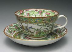 Antique Rare Chinese Famille Rose Porcelain Teacup Butterfly Birds Chilong
