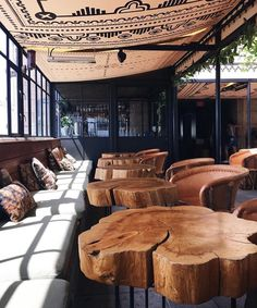 We make exclusive furniture from valuable breeds of … Farmhouse Restaurant, Outdoor Restaurant, Bar Deco, Loft Cafe, Coffee Bar Design, Cozy Coffee Shop, Tree House Plans, Rustic Cafe, Café Bar