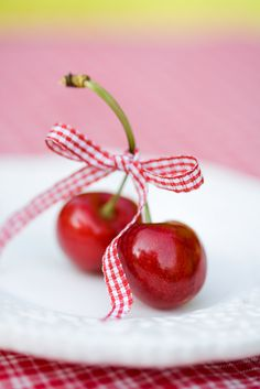 Things i love; red and white together, cherries, white dishes and gingham.