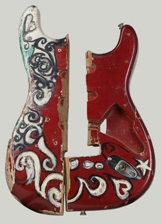 """Fragment of Fender Stratocaster electric guitar burned and smashed  by Jimi Hendrix at the Monterey International Pop Festival, June 18, 1967. Experience Music Project permanent collection. 1992.7.2."""