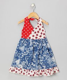 Take a look at this Blue Bandanna Halter Dress - Toddler & Girls by Beary Basics on #zulily today!