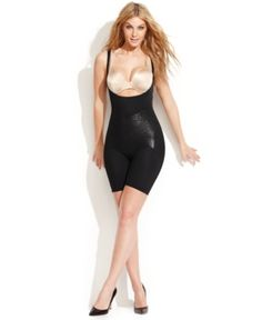 Star Power by Spanx Firm Control Lady Luxe Open-Bust Mid-Thigh Body Shaper 2181 (Only at Macy's) - Black XL