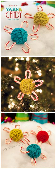 Christmas ● DIY ● Tutorial ● Yarn & Candy Cane Ornaments .... but instead of candy canes use garland clippings. Mary Christmas, Christmas Town, Diy Christmas Ornaments, Christmas Art, Diy Yarn Garland, Candy Cane Ornament, Holiday Crafts For Kids, Holiday Ideas, Prayer Shawl