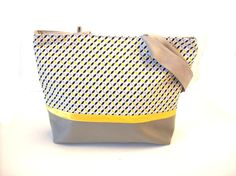 shoulder bag grey and pastel yellow graphic by tchaiwalla on Etsy