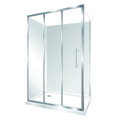 Features one piece acrylic lining, Low profile tray with 40mm upstand Tray is Centre Waste as standard but also available in Corner Waste. 1950mm high glass 6mm safety glass, Stacker Door Reversible – can open left to right or right to left Stacker Door is available in a Silva finish Internal slider (no door swing out means no water on the floor and water drains back into the shower)