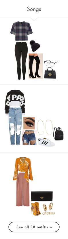 """""""Songs"""" by itsadri-lxv on Polyvore featuring Bamboo, rag & bone, Topshop, Gucci, Miss Selfridge, adidas, Magda Butrym, River Island, GUESS and Palm Beach Jewelry"""