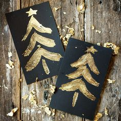 Use A Makers' Studio Gold Leaf to add a bit of glimmer in all the right places – even your Christmas décor! Make your own Christmas cards this year using gold leaf and gilding! Gold Christmas, A Christmas Story, Christmas Crafts, Christmas Decorations, Custom Christmas Cards, Holiday Cards, Leaf Cards, Diy Cards, Crafts For Kids