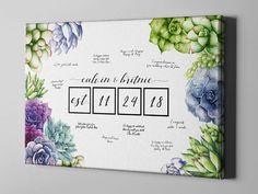 SALE 50% Off Canvas Guest Book, Succulents Wedding Guest Book, Greenary Cactus Guest Book, Canvas Anniversary Keepsake Gifts Ideas - CGB89