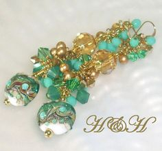 Teal and Gold Lampwork Earrings Long Cluster by hhjewelrydesigns, $55.00