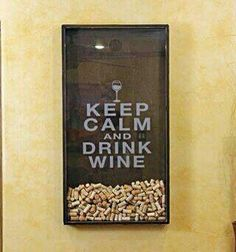Yep, this is my kind of wall art. Uppercase Living custom design added to a tall shadow box with a hole cut near the top of the glass. #wine #corks #UppercaseLiving