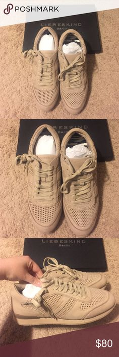 NWT. Liebeskind Berlin Sneakers size 11❤️ Price firm. Brand new! Never worn. These run small-I wear a 10.5-11 and these were too small for me. Length wise They basically fit but width wise they were just too tight & I had a hard time getting my foot in. So if you wear between a 10-10.5 and have a more petite foot these should be perfect! EU sizes say a 41 = 11 US. They are kind of a muted powder color in my opinion with perforated sides! 100 percent cow leather. Liebeskind Shoes Sneakers