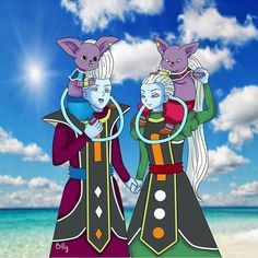 Whis and Kid Beerus, Vados and Kid Champa Dragon Ball Gt, Dragon Ball Z Shirt, Dragon Ball Image, Amazing Store, Dbz Characters, Anime Comics, Fan Art, Angeles, Pokemon Sprites