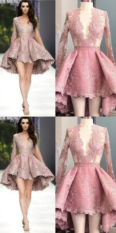 Stylish A-Line Deep V-Neck Long Sleeves High Low Pink Homecoming Dress homecominng,homecoming dresses,short homecoming dress,homecoming 2017 Sexy Homecoming Dresses, Hoco Dresses, Pretty Dresses, Beautiful Dresses, Evening Dresses, Dresses With Sleeves, Winter Dresses, Dresses Short, Designer Dresses
