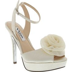 Women's Nina Makara - Ivory Satin with FREE Shipping & Exchanges. The Makara is a dressy high heel with an adjustable ankle strap to secure a