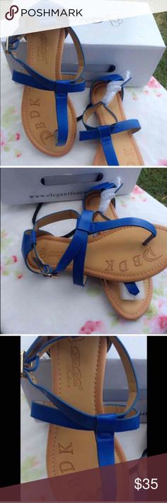 Blue beautiful sandals Blue beautiful sandals got from another posher never worn them. Comes with box Shoes Sandals