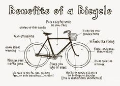 Benefits of a bicycle. Transport for a green future.
