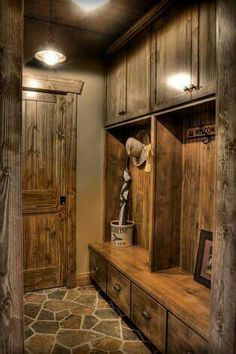 60 Awesome DIY Mudroom Organization Ideas - Page 49 of 61 Cabin Homes, Log Homes, Cabin In The Woods, Cabana, My Dream Home, Home Remodeling, Home Design, Design Ideas, House Plans