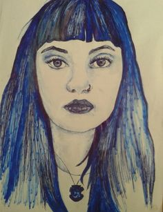 Drawing done in Blue pen, blue fine liner, blue khoki pen and tip ex (White out). Tell me I'm right Tell Me, Follow Me On Instagram, Annie, Vanilla, My Arts, Deviantart, Drawings, Blue, Sketches