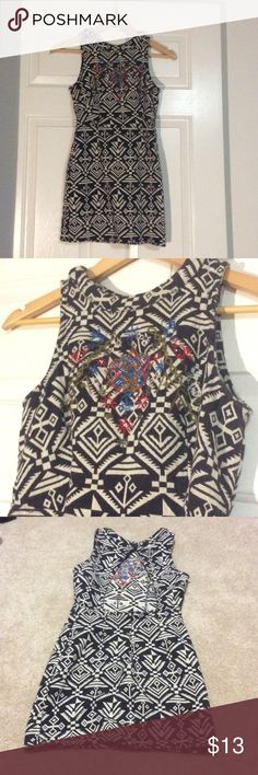 Aztec print dress Black and white design embellished with red and blue beading Astr Dresses