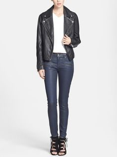 Classic pairing | Topshop biker jacket with coated skinny jeans