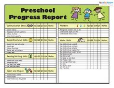 Pre Kindergarten Report Card  Preschool Progress Report Template