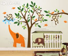 $172 shipped.  More expensive, but covers a whole wall.  Wall Sticker Decal Art-Monkeys  Elephant Fun Together