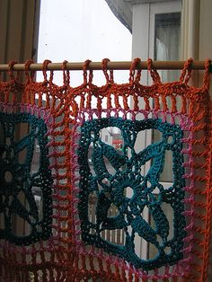 cool curtains by bohemian_felt, via Flickr  Work a square on my biggest needle and see what occurs!