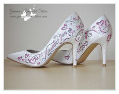 Hand painted pink wedding shoes with butterflies and jewels