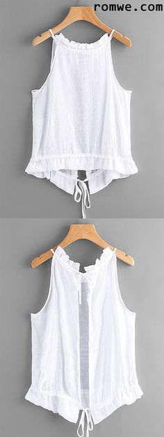 Tie Open Back Frill Detail Top - para mi pantalon azul cielo ♥ Easy Sew Dress, Diy Dress, Summer Outfits, Casual Outfits, Cute Outfits, Diy Fashion, Womens Fashion, Fashion Trends, Fashion Design