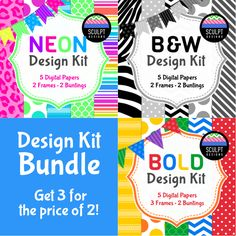 Get 3 Design Kits for the Price of 2! Everything you need to create attractive covers for your projects... digital papers, frames and bunting banners.