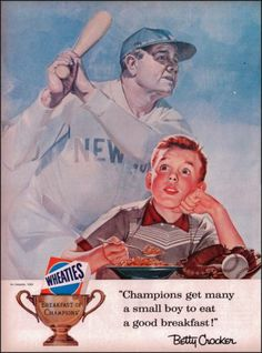 1956 Wheaties Breakfast of Champions Original Vintage Print Ad with Babe Ruth | eBay